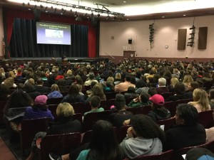 Dr. Noreen Leahy, Assistant Superintendent RVC School District, presents the program to a capacity crowd.